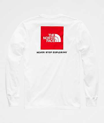 The North Face Red Box White & Red Long Sleeve T-Shirt