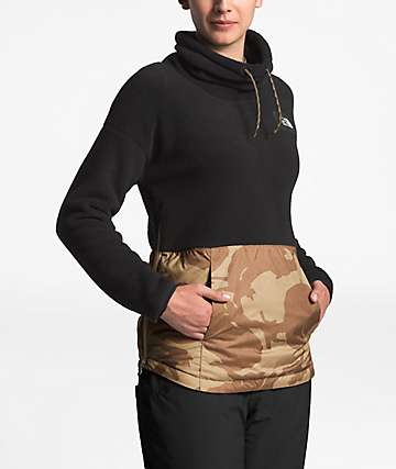 The North Face Riit Black & Kelp Print Cowl Neck Sweatshirt