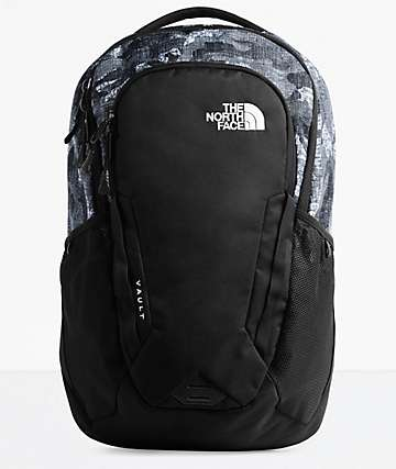 The North Face Vault Textured Camo & Black Backpack