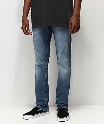 The Rising Sun Mfg. Co. Destructed Blue Slim Fit Jeans