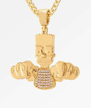 The Simpsons x King Ice Bad 2 The Bart Gold Necklace