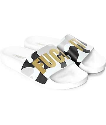 TheWhiteBrand Fuck It Mint Camo Slide Sandals