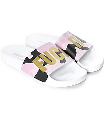 TheWhiteBrand Fuck It Pink Camo Slide Sandals