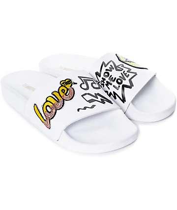 TheWhiteBrand Lips Yellow Slide Women's Sandals