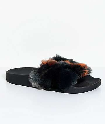 TheWhiteBrand Triangles Orange & Black Fur Slide Sandals