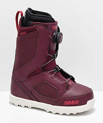 ThirtyTwo Womens STW Boa Burgundy Snowboard Boots 2019