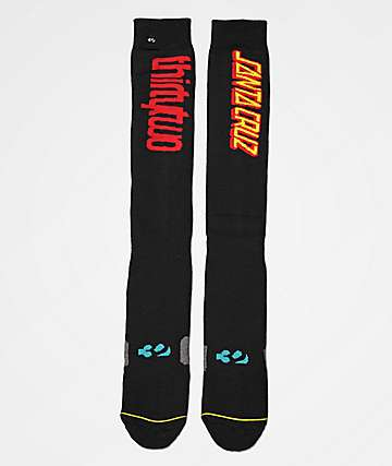 ThirtyTwo x Santa Cruz Screaming Hand Black Snowboard Socks