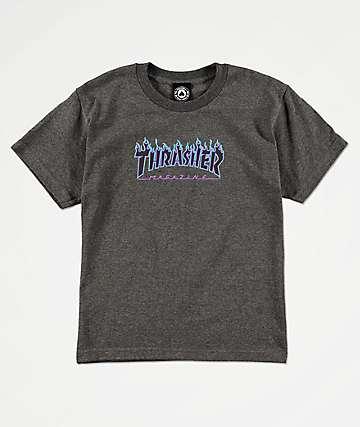 Thrasher Boys Flame Logo Grey T-Shirt