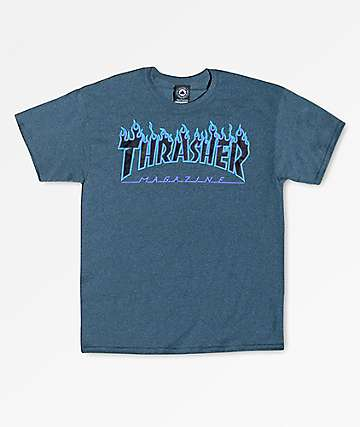 Thrasher Boys Flame Logo Heathered Blue T-Shirt