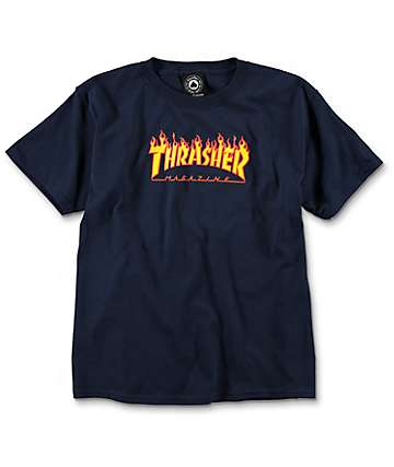 Thrasher Boys Flame Navy T-Shirt