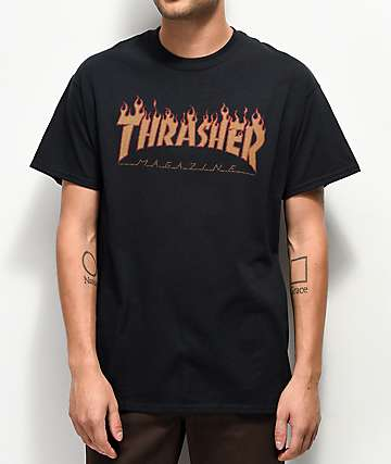 Thrasher Flame Black Halftone T-Shirt