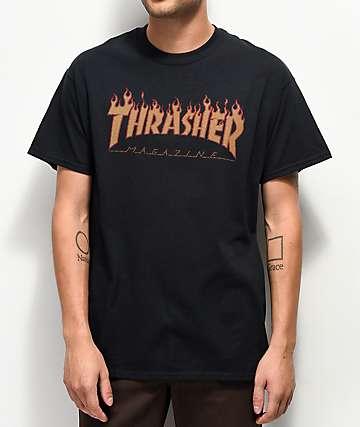 Thrasher Flame Halftone camiseta negra