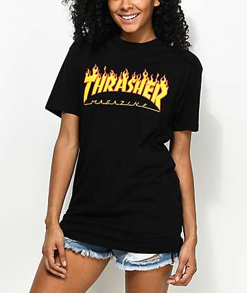 Thrasher Flame Logo Black Boyfriend Fit T-Shirt
