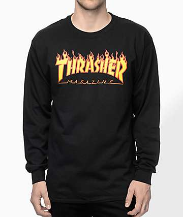d922882858b8 Thrasher Flame Logo Black Long Sleeve T-Shirt