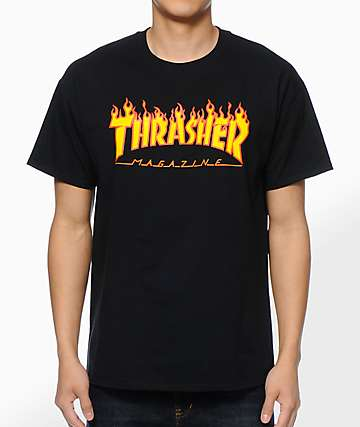 1371694a2dd Thrasher Flame Logo Black T-Shirt