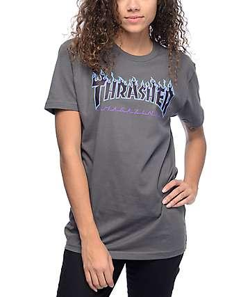 Thrasher Flame Logo Grey T-Shirt