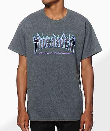 Thrasher Flame Logo Purp camiseta
