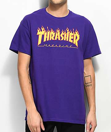 89698fb2138d Thrasher Flame Logo Purple T-Shirt
