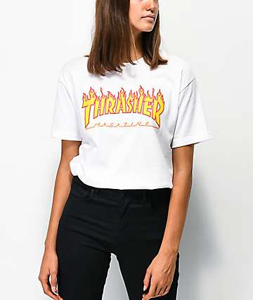 Thrasher Flame Logo White Boyfriend Fit T-Shirt d5aadad1d1