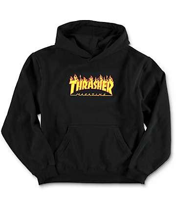 Thrasher Flame Logo sudadera negra con capucha para niños
