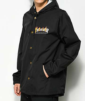 6aecfbc1ddc9 Thrasher Flame Magazine Black Hooded Coaches Jacket