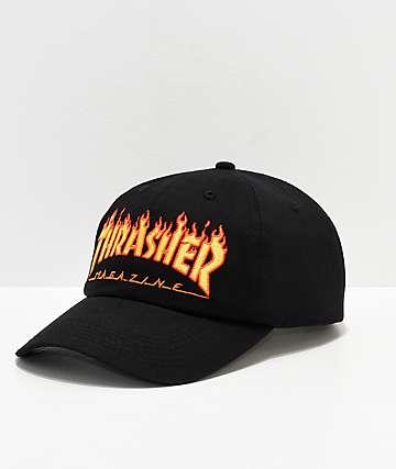 Thrasher Flame Old Timer Black Strapback Hat