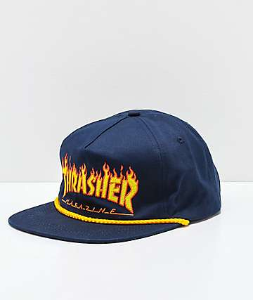 Thrasher Flame Rope Navy Snapback Hat