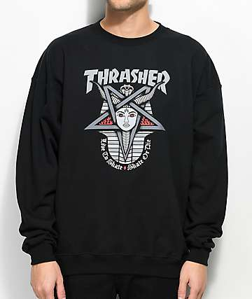Thrasher Goddess Black Crew Neck Sweatshirt