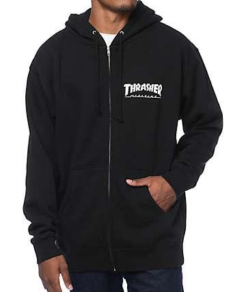 Thrasher Logo Black Zip Up Hoodie