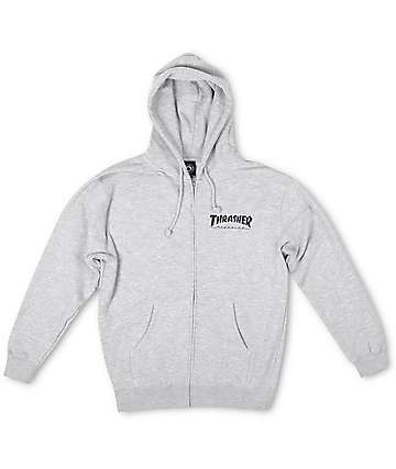 Thrasher Logo Grey Zip Up Hoodie