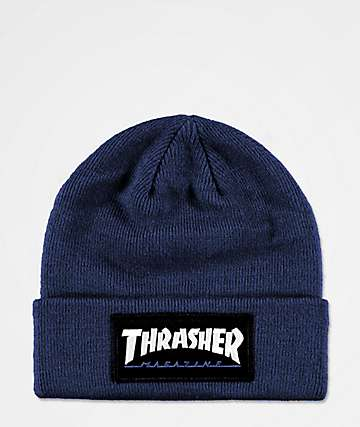 Thrasher Logo Patch Navy Beanie