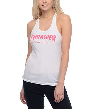 Thrasher Magazine Logo camiseta blanca sin mangas