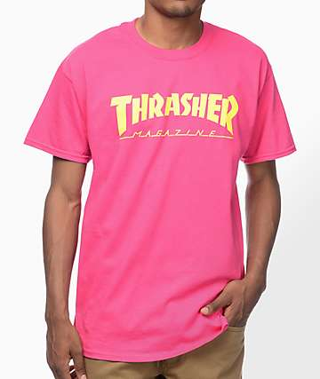 Thrasher Magazine Logo camiseta en rosa