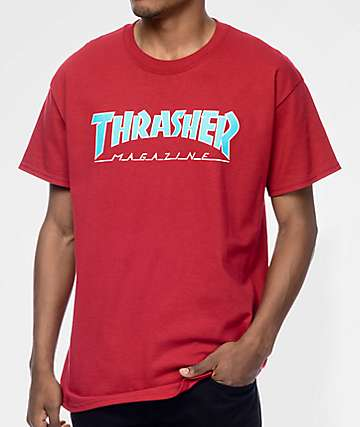 Thrasher Magazine Outlined camiseta en rojo