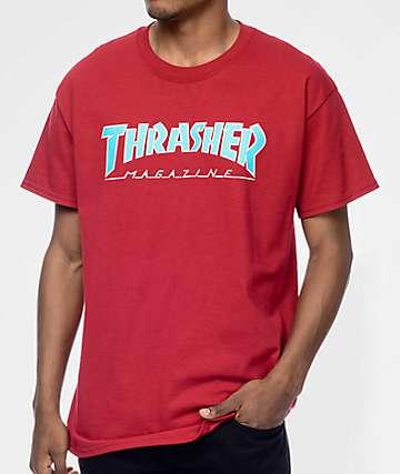 Thrasher Magazine Outlined camiseta en rojo