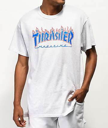 65370ecd Thrasher Magazine Patriot Flame Ash Grey T-Shirt