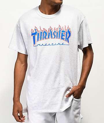 Thrasher Magazine Patriot Flame camiseta gris 4a002d81dca