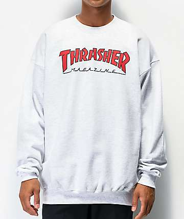 Thrasher Outlined Grey Crew Neck Sweatshirt