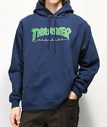 b41b504ce820 Thrasher Outlined Logo Navy Hoodie