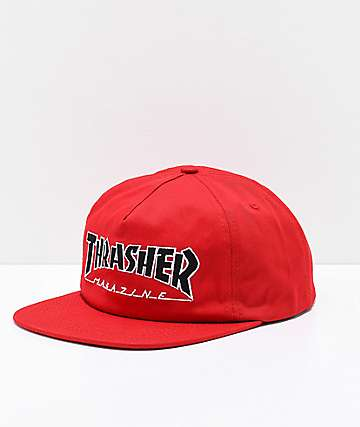 Thrasher Outlined Red Snapback Hat
