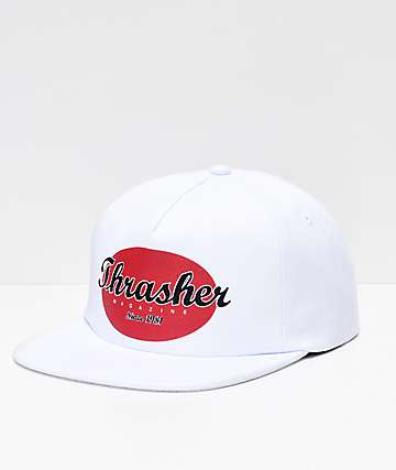 Thrasher Oval White Snapback Hat