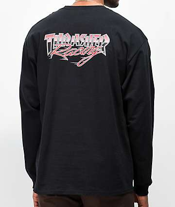 Thrasher Racing Black Long Sleeve T-Shirt