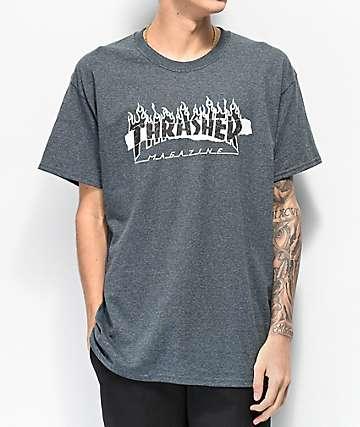 2e94c131301ec Thrasher Ripped camiseta gris oscuro