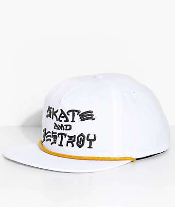 Thrasher Skate And Destroy White Snapback Hat