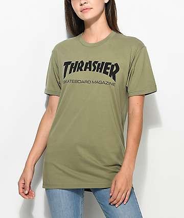 2d90bbe901e843 Thrasher Skate Mag Olive Boyfriend Fit T-Shirt
