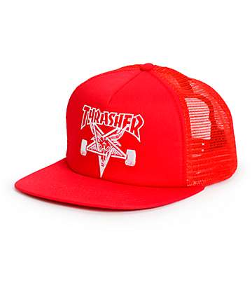 Thrasher Skategoat Red Trucker Hat