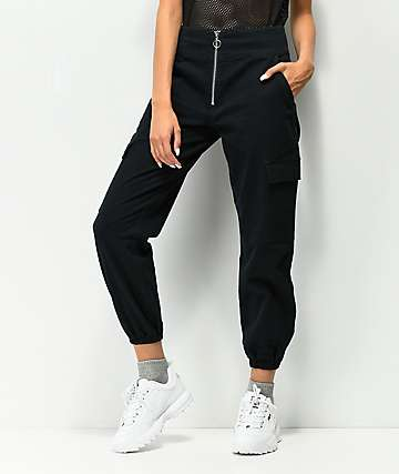 Tinseltown Black Zip Front Cargo Pants