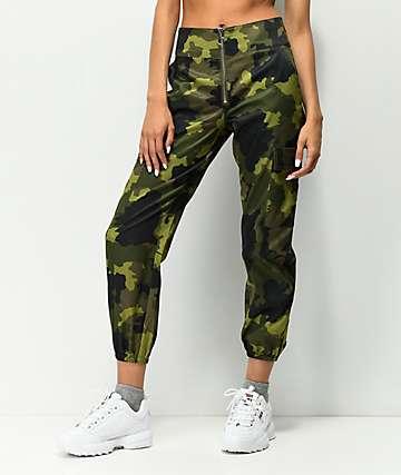 Tinseltown Camo Zip Front Cargo Pants