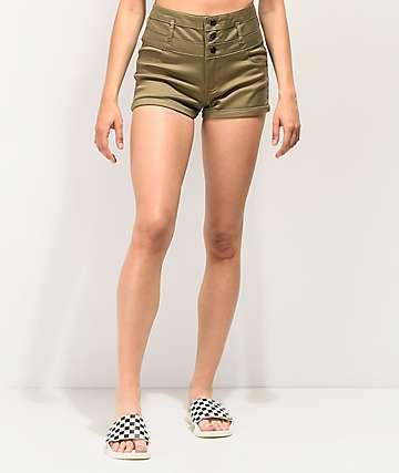 Tinseltown Olive High Waist Shorts