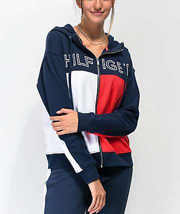 Tommy Hilfiger Red, White & Blue Colorblock Zip Hoodie